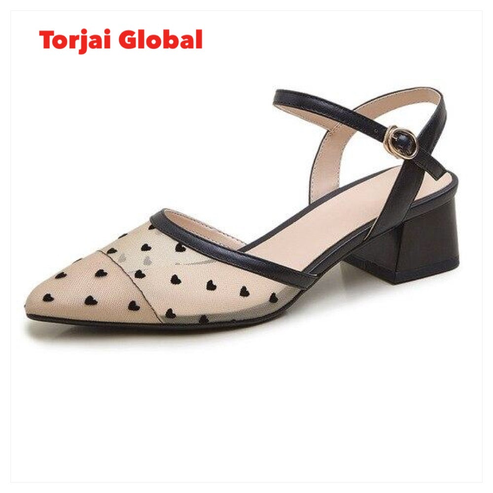 Leather Pointed Toe Thick Heels Ladies Footwear