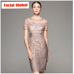 Ladies Embroidery Knee-Length Party Dress