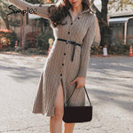 Casual Stand Collar Women's Knitted Dress