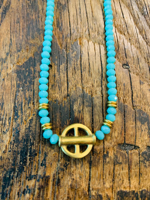 Turquoise tiny beads with Brass