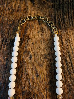 Vintage white beads + African Brass
