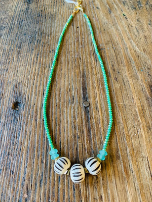 Green Shimmery Tinybead Necklace
