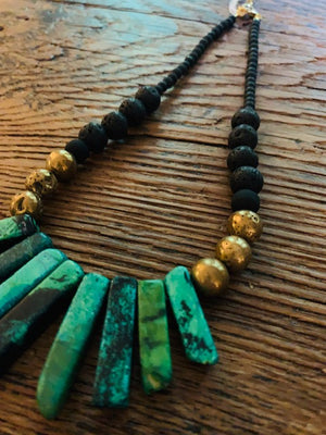 Green Turquoise on Black and Brass