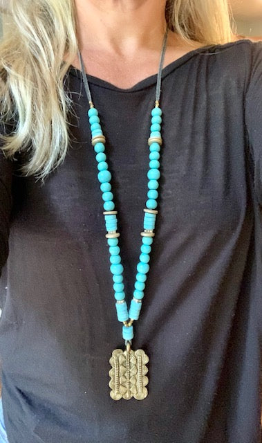 African Brass Pendant on Turquoise
