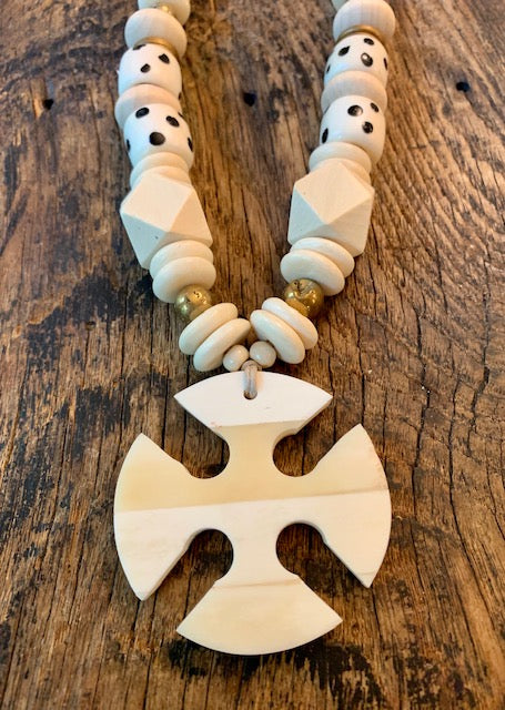 Ox Bone Cross + Domino Beads
