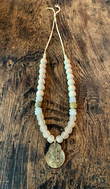 Pale Pink Recycled glass and Brass