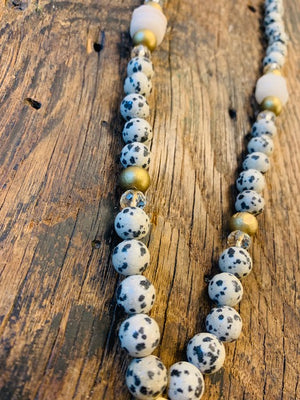 Dalmation Jasper with Brass African Medallion