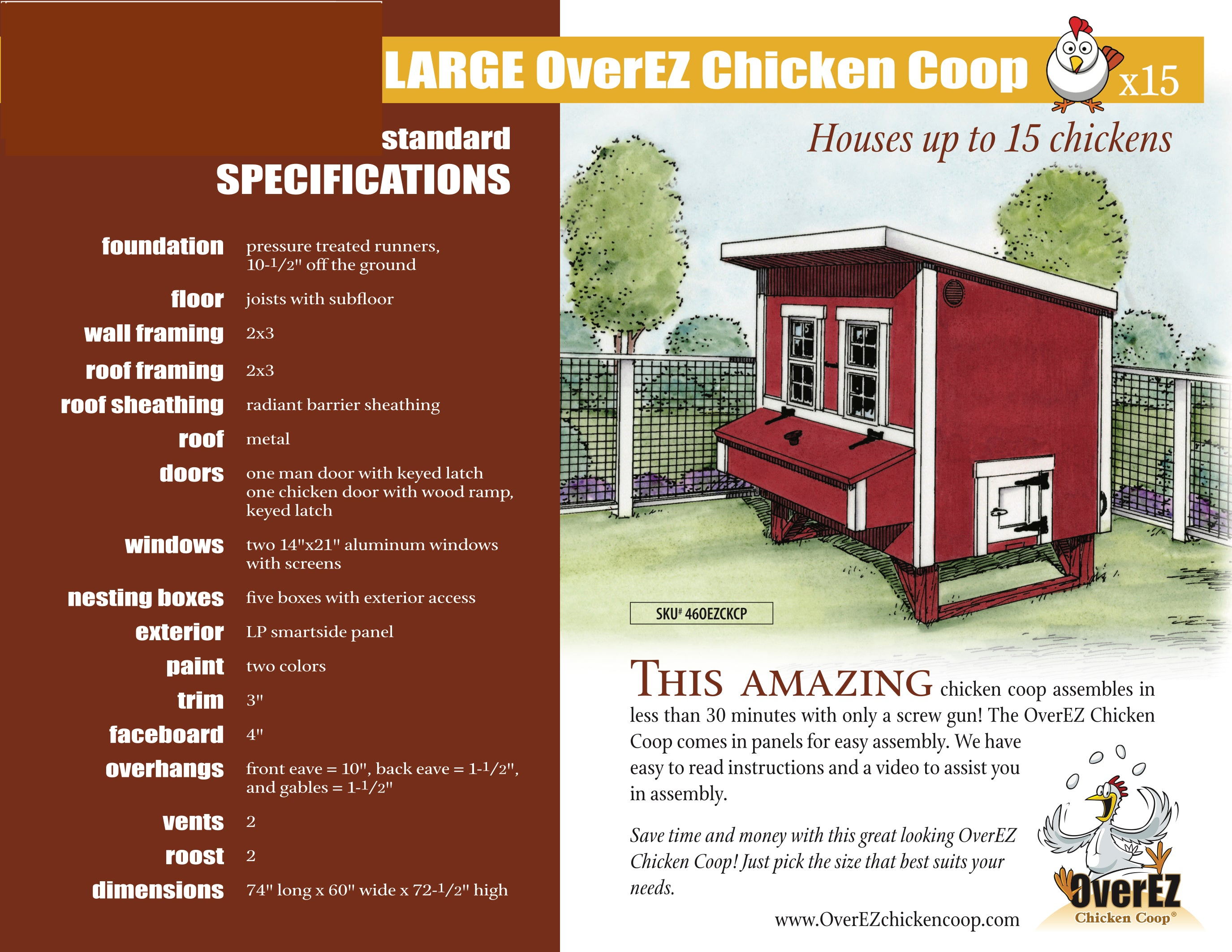 Large OverEZ Chicken Coop Spec Sheet