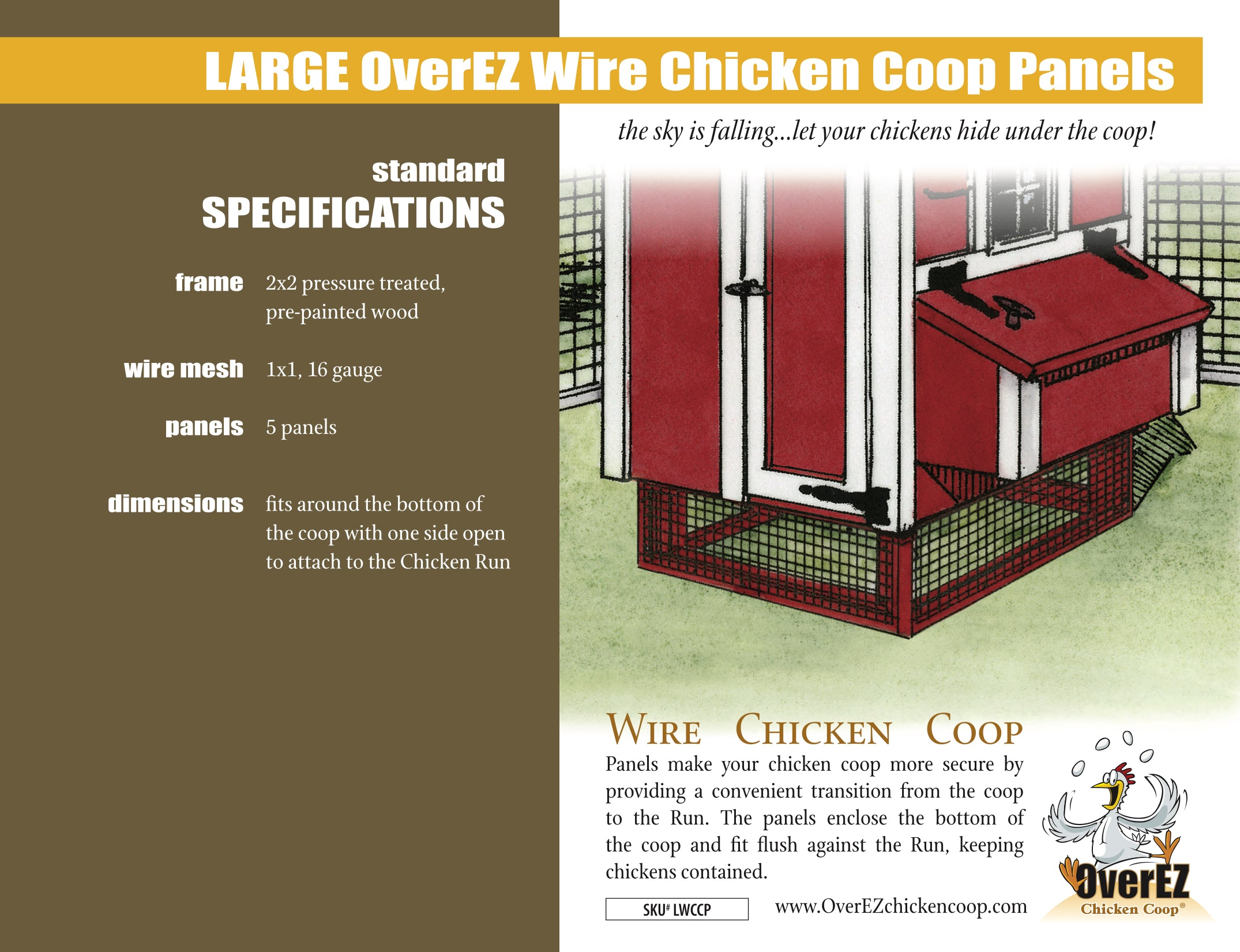 Large OverEZ Wire Chicken Coop Panels Spec Sheet