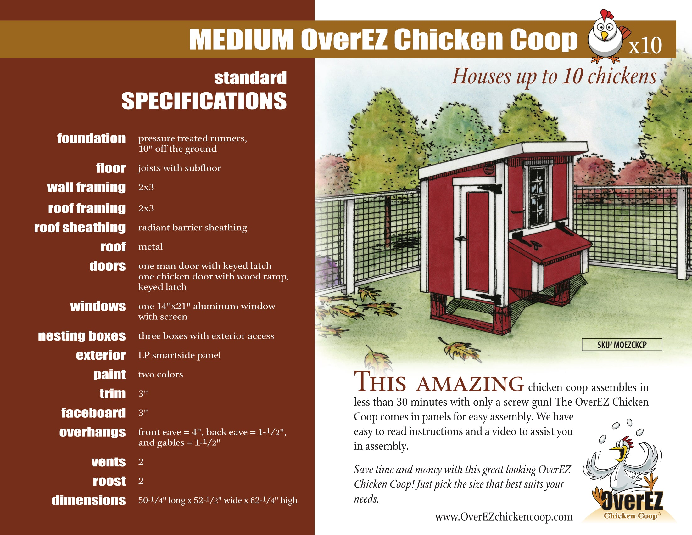 Medium OverEZ Chicken Coop Spec Sheet