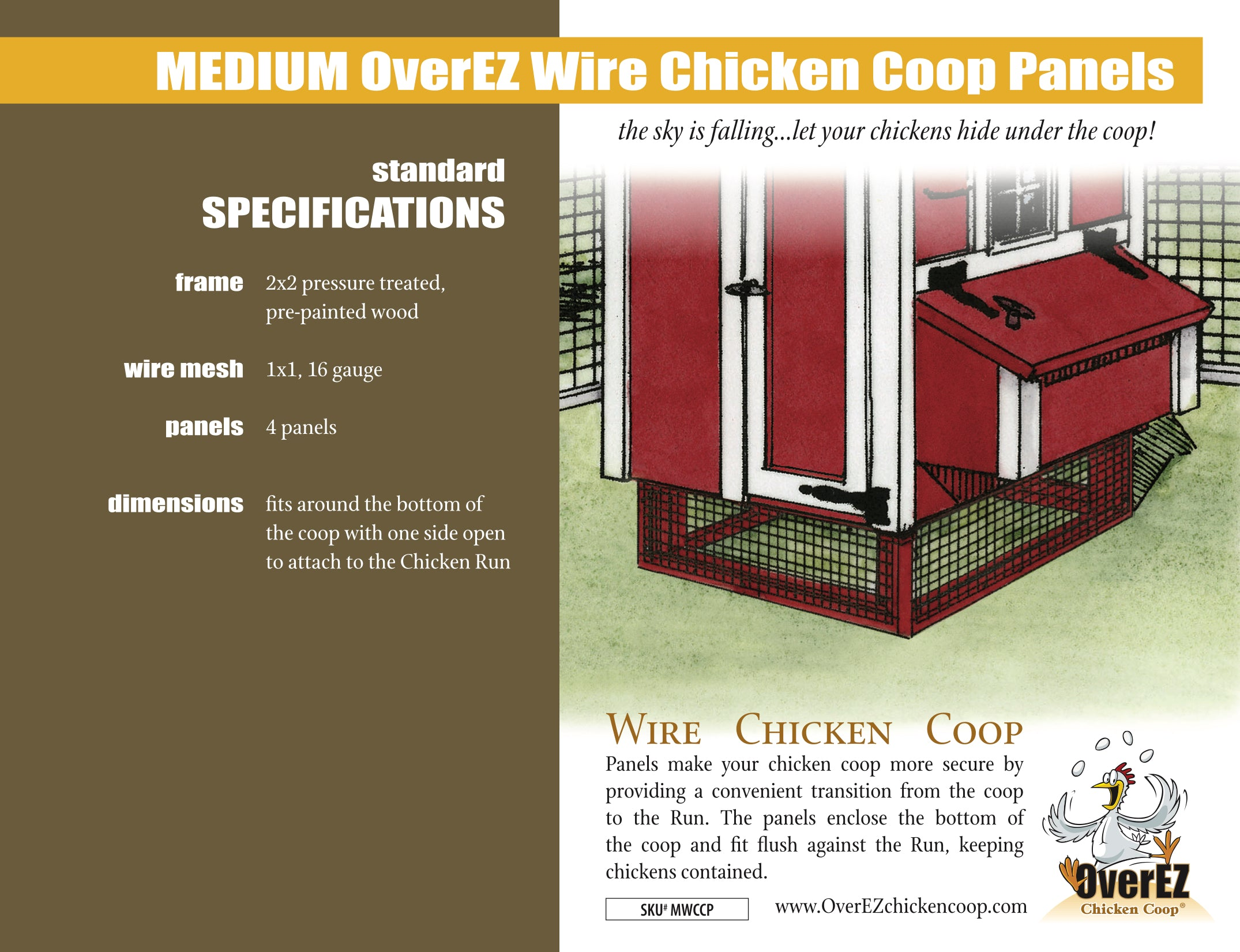 Medium OverEZ Wire Chicken Coop Panels Spec Sheet