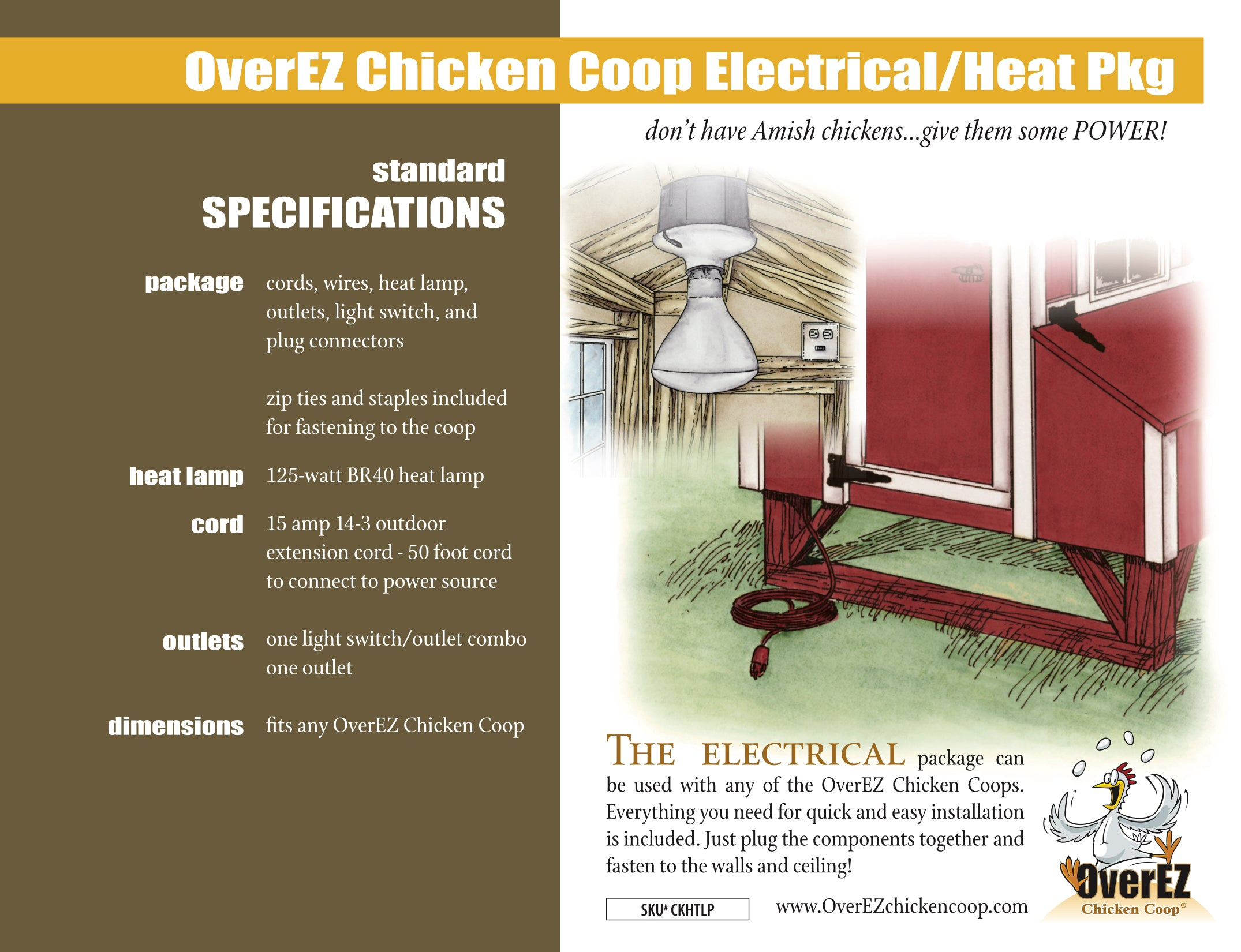OverEZ Chicken Coop Electrical/Heat Package Spec Sheet