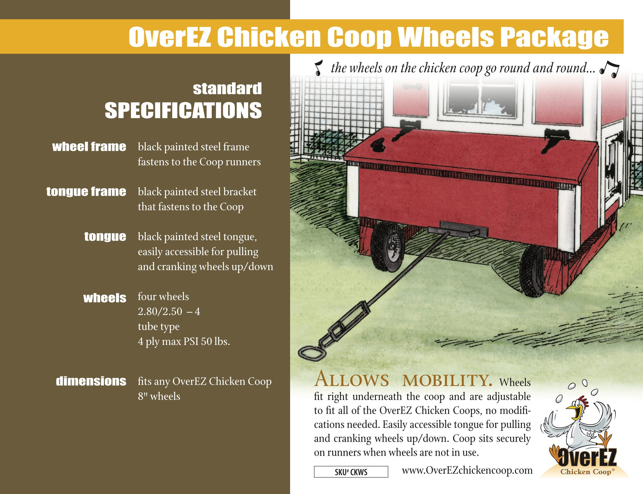 OverEZ Chicken Coop Wheels Spec Sheet