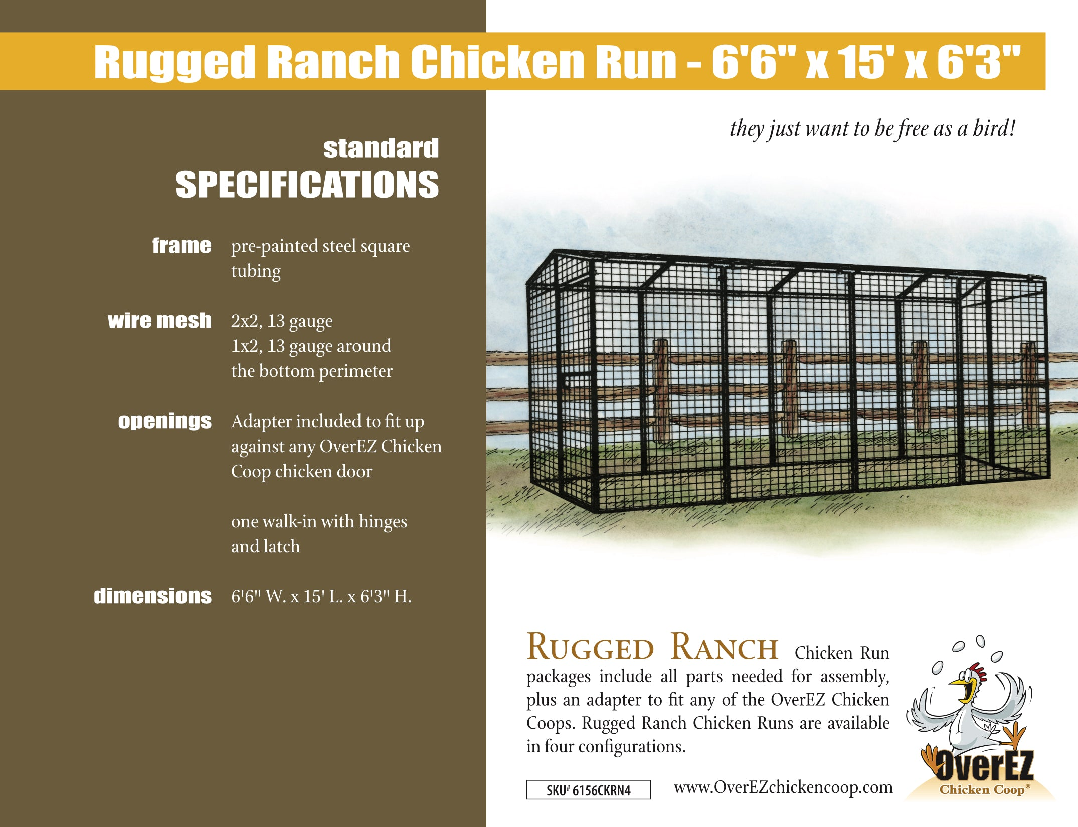 "Rugged Ranch Chicken Run 6'6""x15'x6'3"" Spec Sheet"