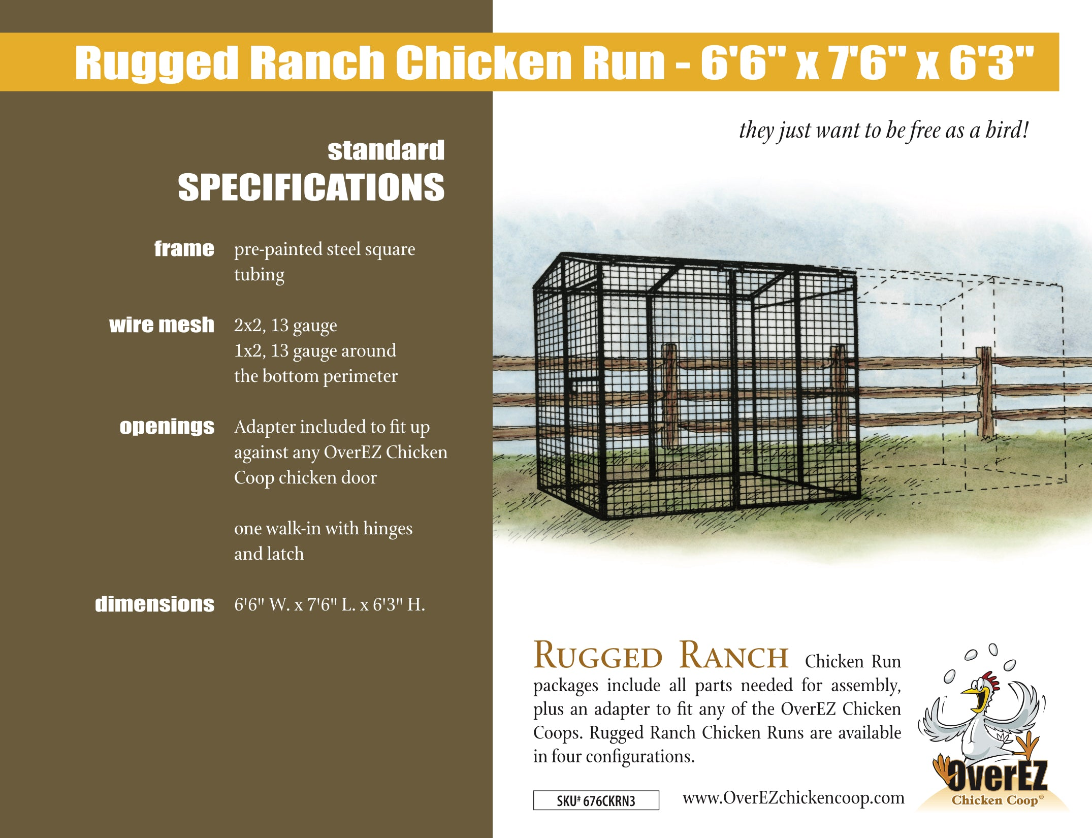 "Rugged Ranch Chicken Run 6'6""x7'6""x6'3"" Spec Sheet"