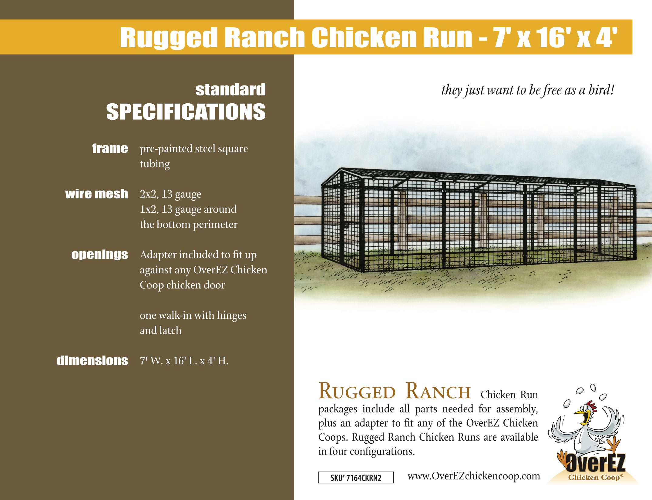 Rugged Ranch Chicken Run 7x16x4 Spec Sheet