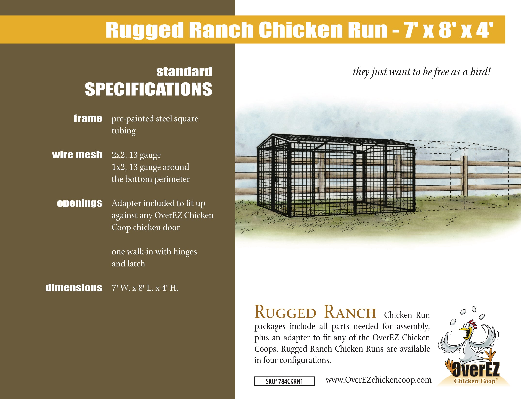 Rugged Ranch Chicken Run 7x8x4 Spec Sheet
