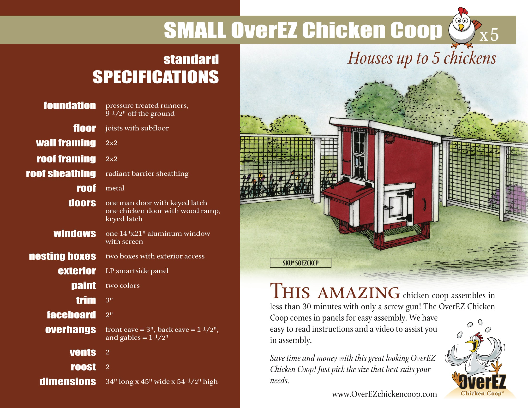 Small OverEZ Chicken Coop Spec Sheet