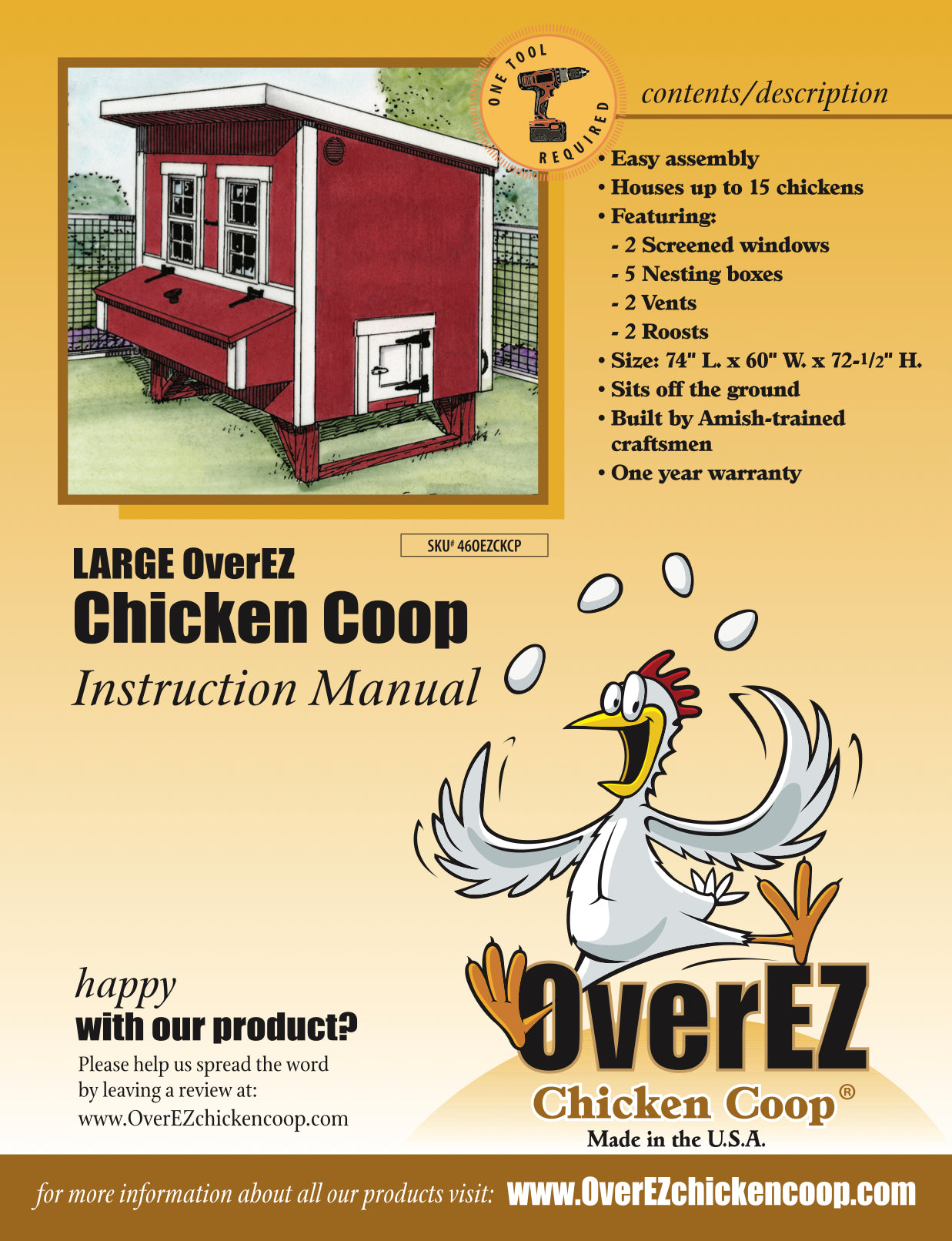 Large OverEZ Chicken Coop Instructions