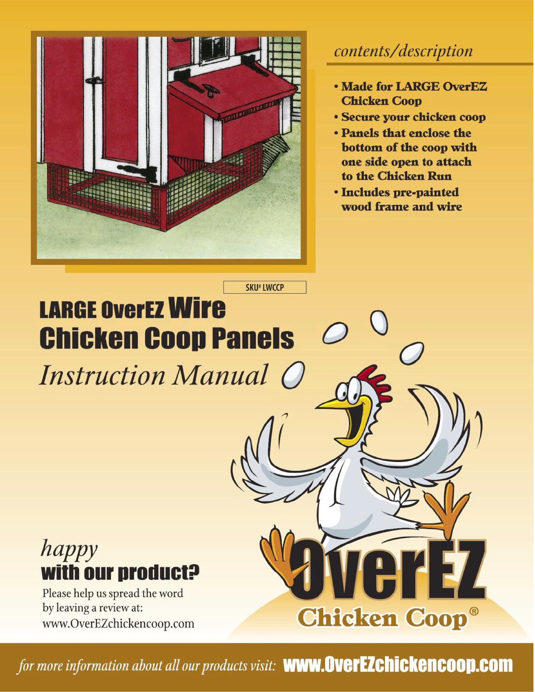 Large OverEZ Wire Chicken Coop Panels Instruction Sheet