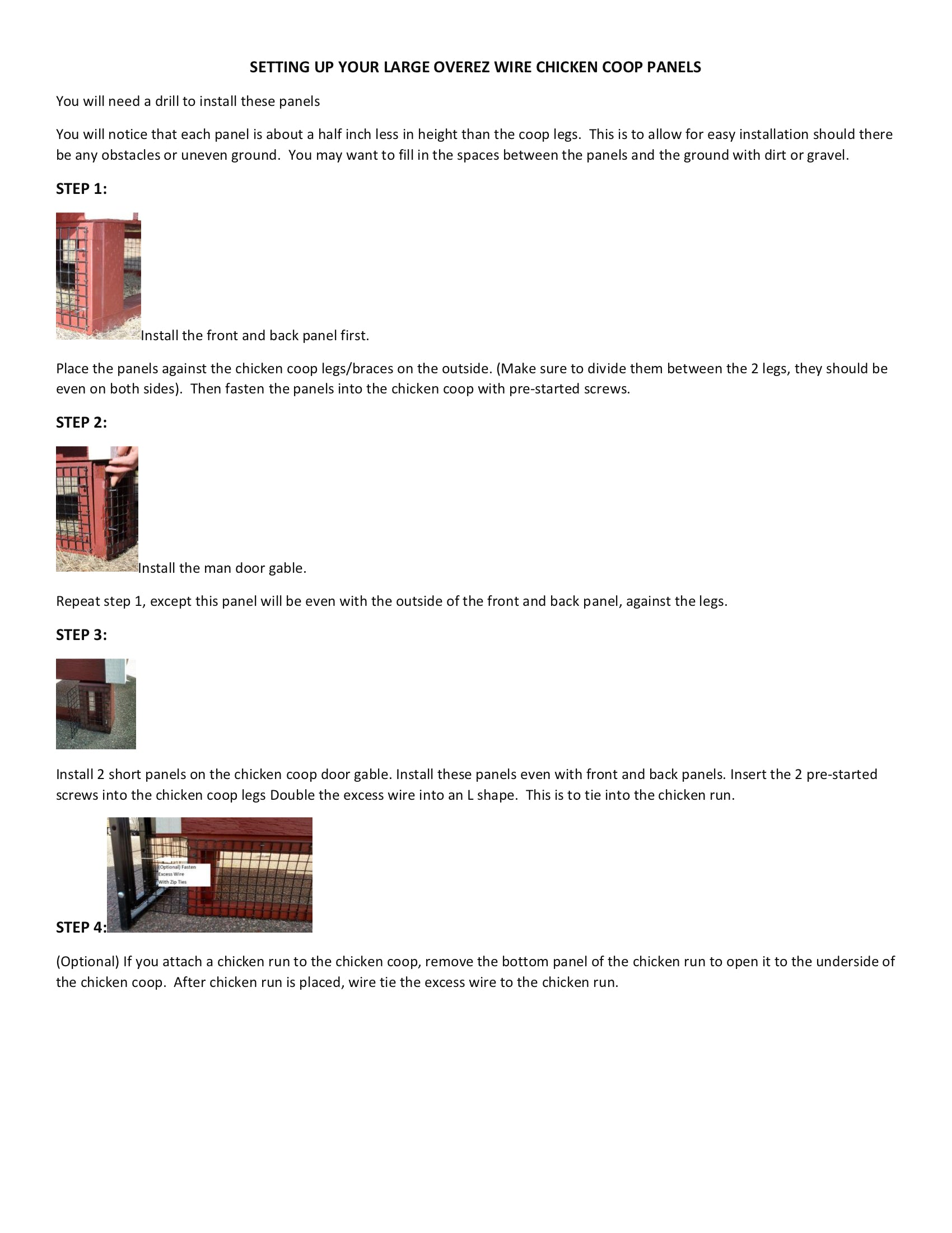 Large OverEZ Wire Chicken Coop Panels Instruction Sheet 2