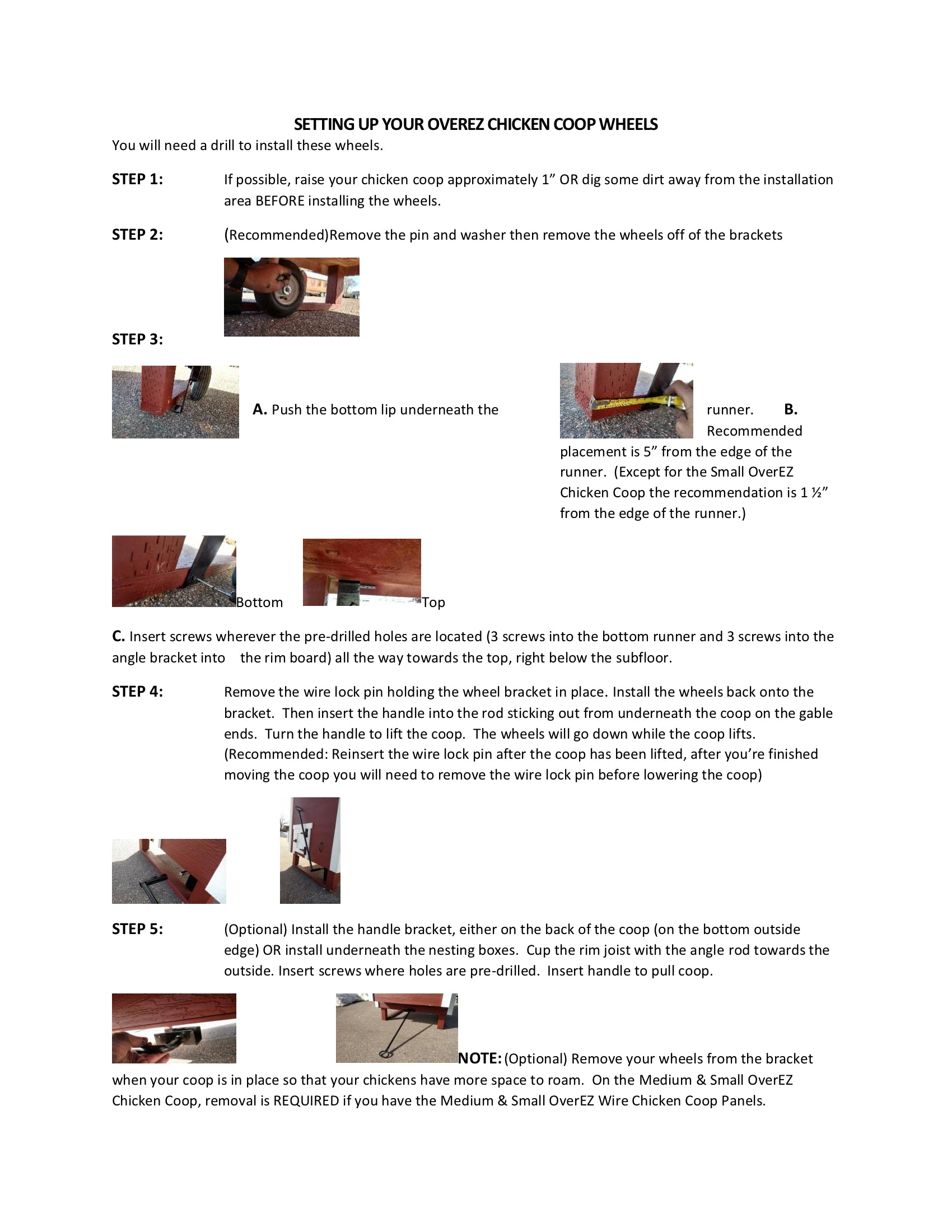 OverEZ Chicken Coop Wheels Instructions 2