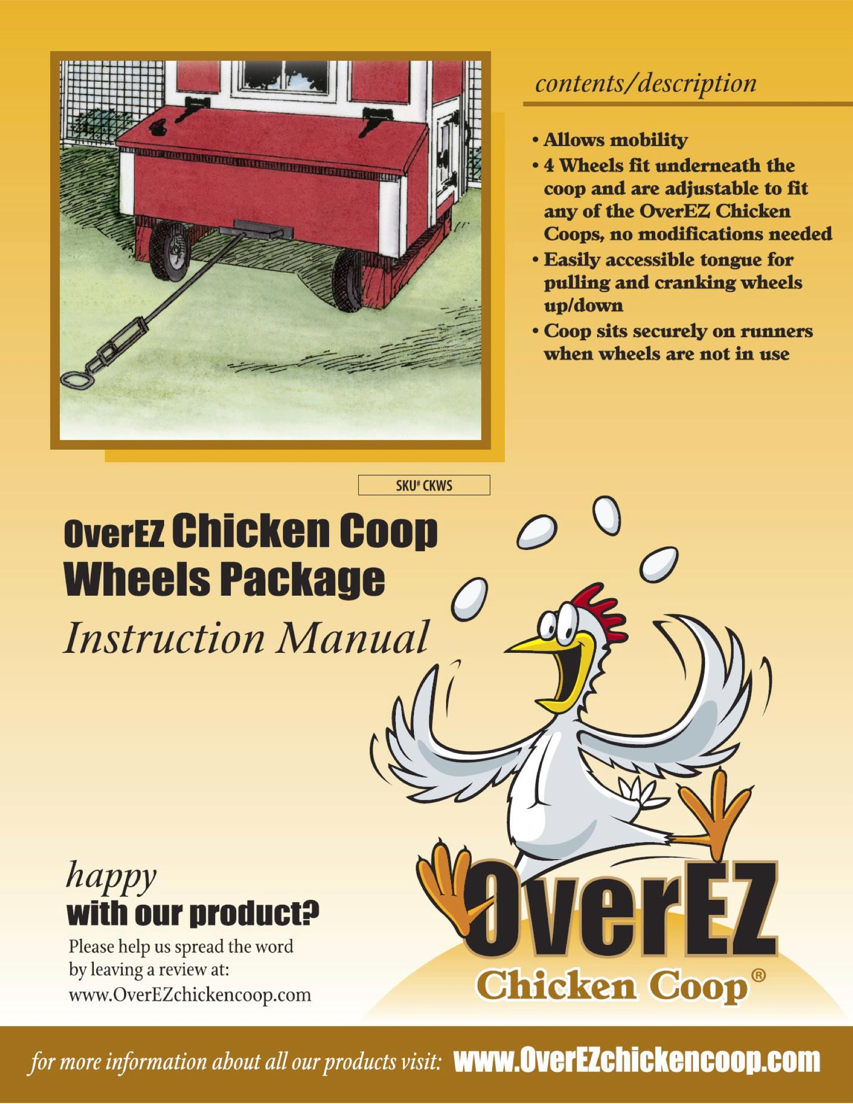 OverEZ Chicken Coop Wheels Instructions