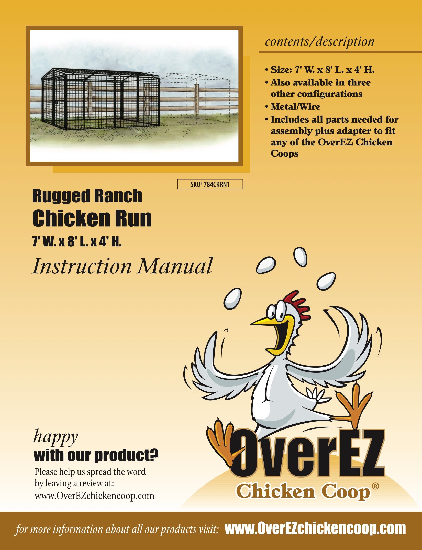 Rugged Ranch Chicken Run 7x8x4 Instructions