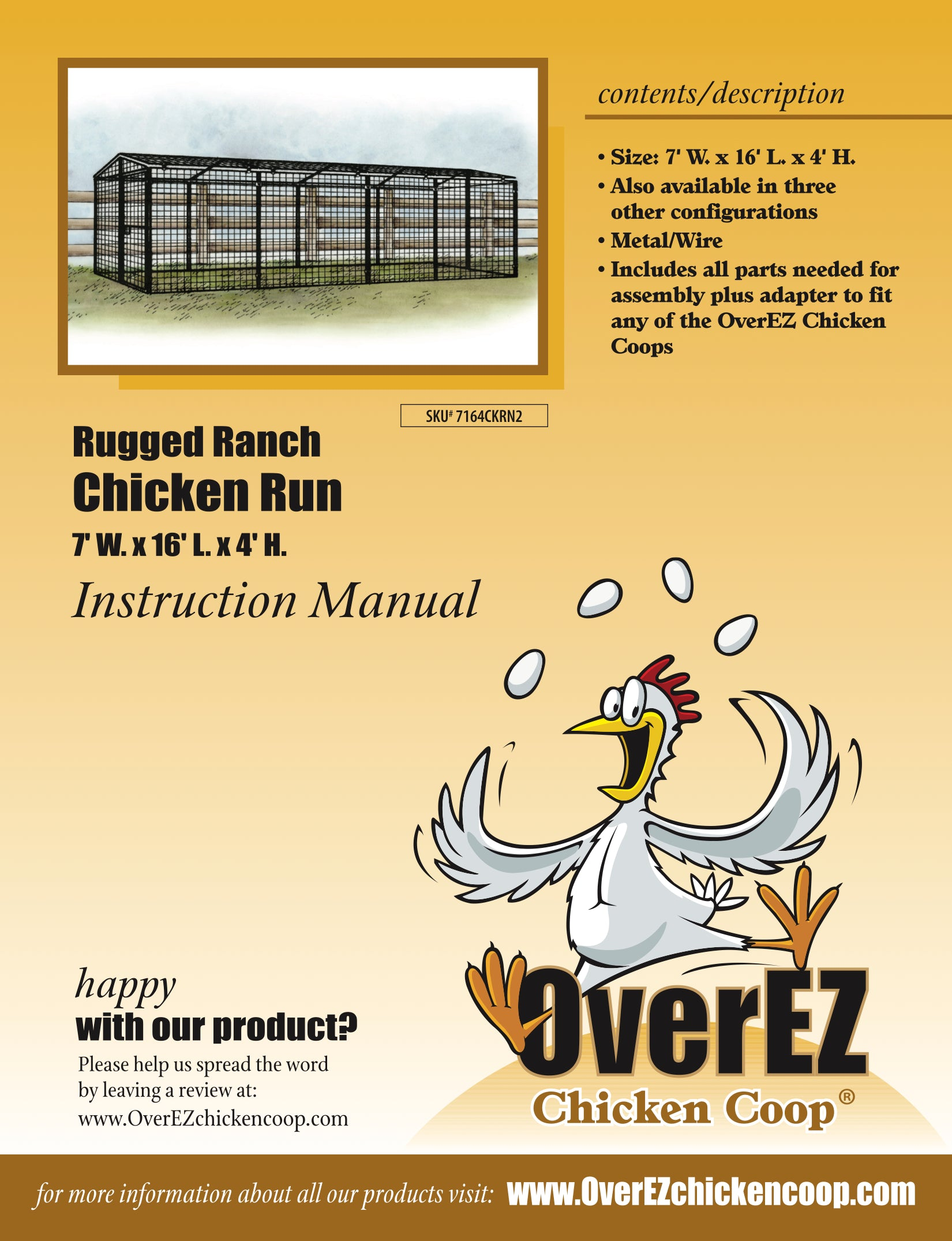 Rugged Ranch Chicken Run 7x16x4 Instructions