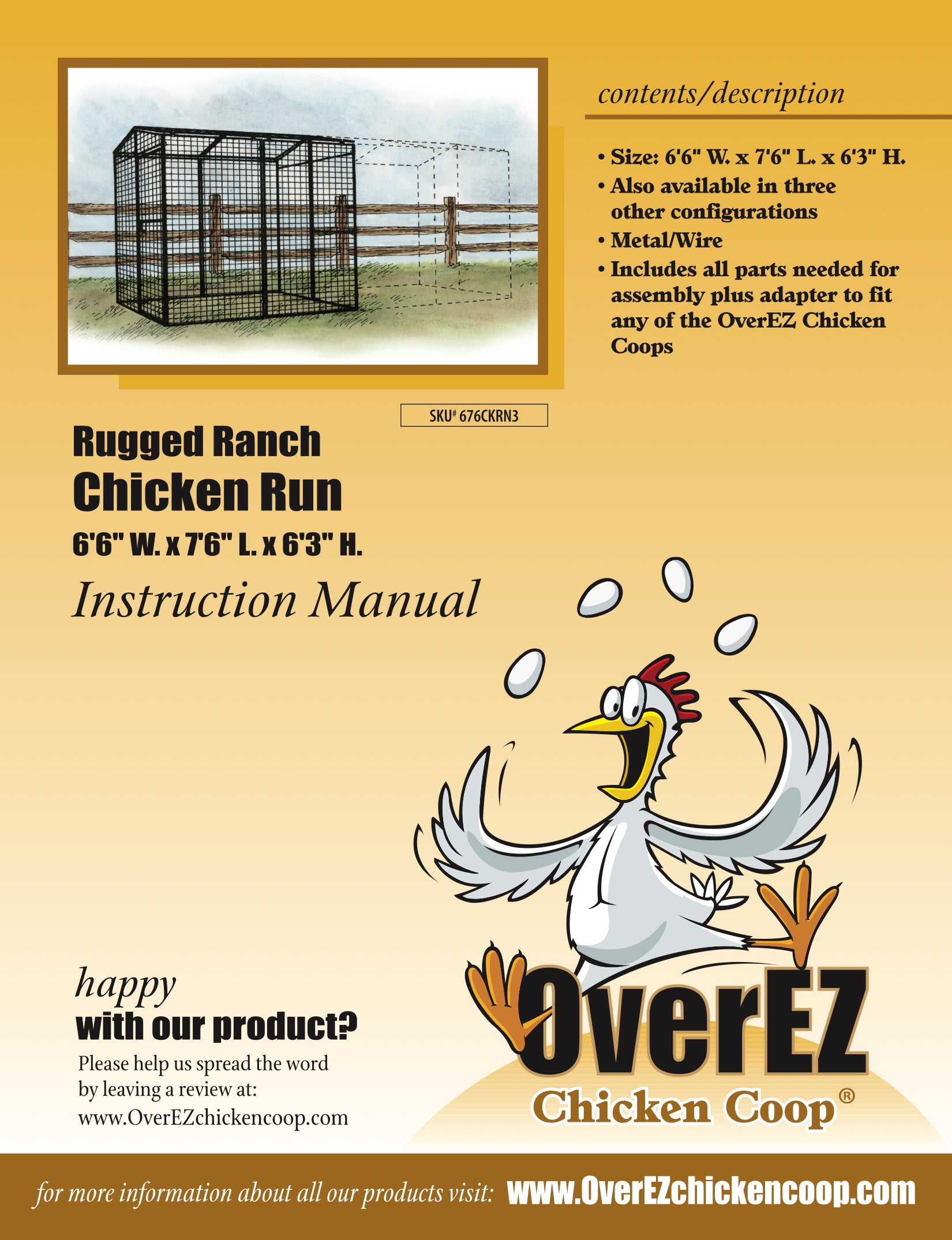 "Rugged Ranch Chicken Run 6'6""x7'6""x6'3"" Instructions"