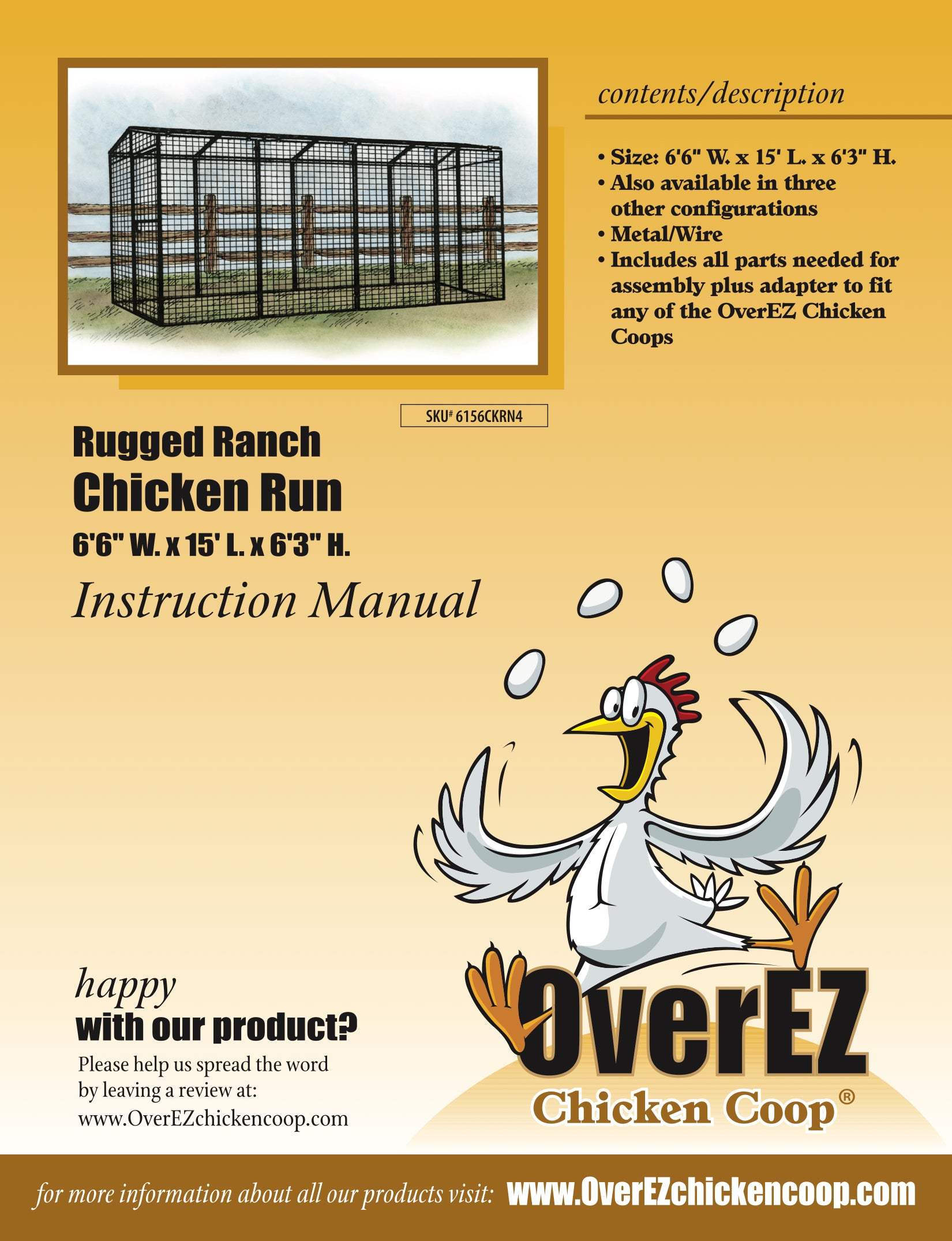 "Rugged Ranch Chicken Run 6'6""x15'x6'3"" Instructions"