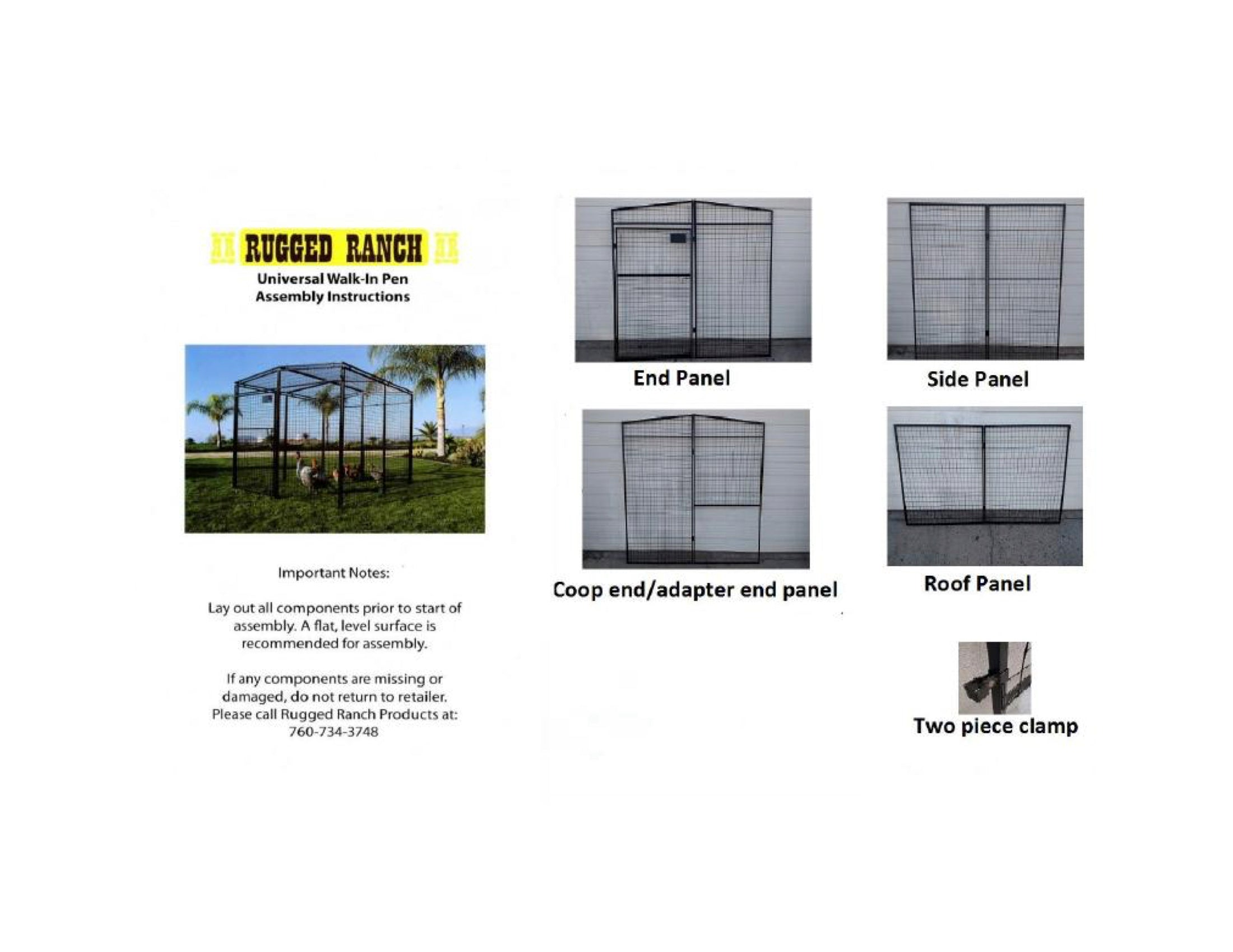 "Rugged Ranch Chicken Run 6'6""x15'x6'3"" Instructions 2"