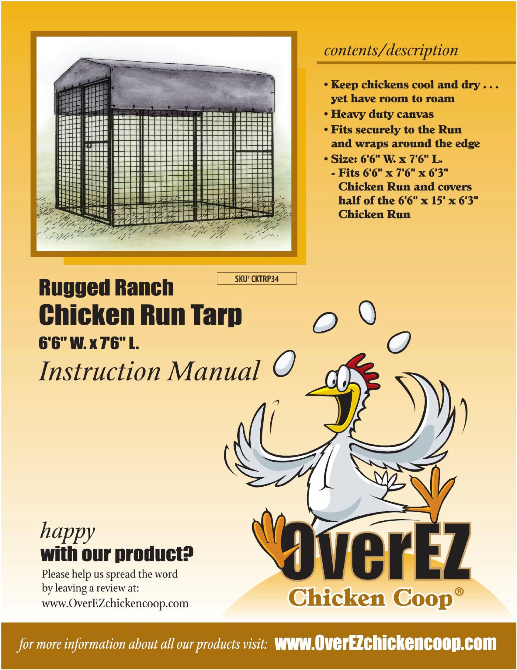"Rugged Ranch Chicken Run Tarp 6'6"" x 7'6"""