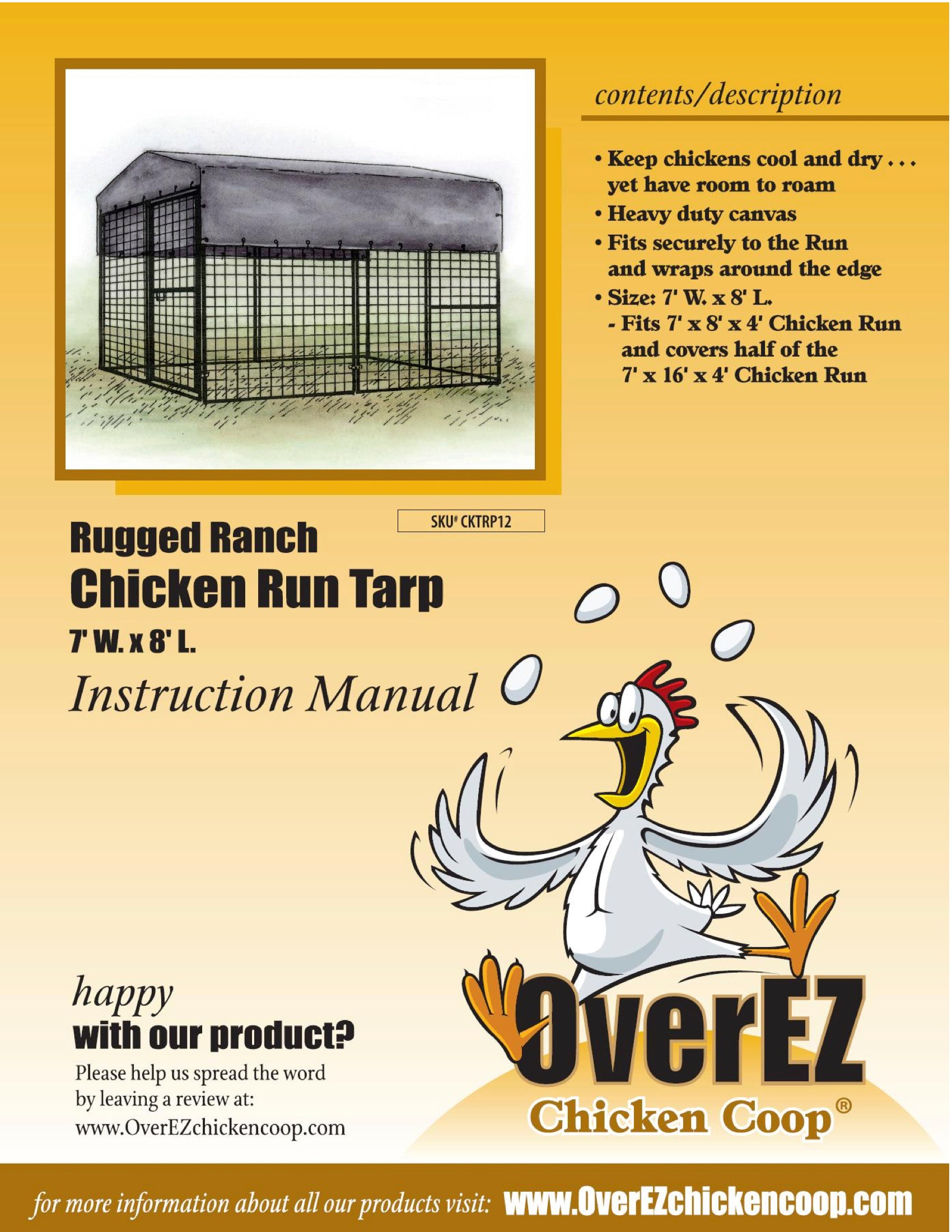 Rugged Ranch Chicken Run Tarp 7x8 Spec Sheet