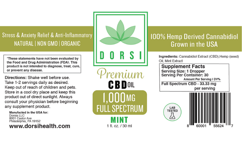Affordable third party tested 1000mg Full Spectrum CBD Oil