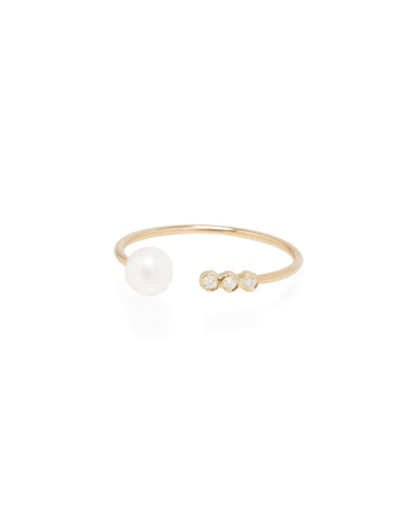 OPEN PEARL AND 3 DIAMOND GOLD RING