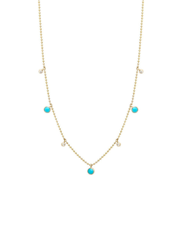 TURQUOISE AND DIAMOND DANGLE GOLD NECKLACE - FAIRYDUST_JEWELRY