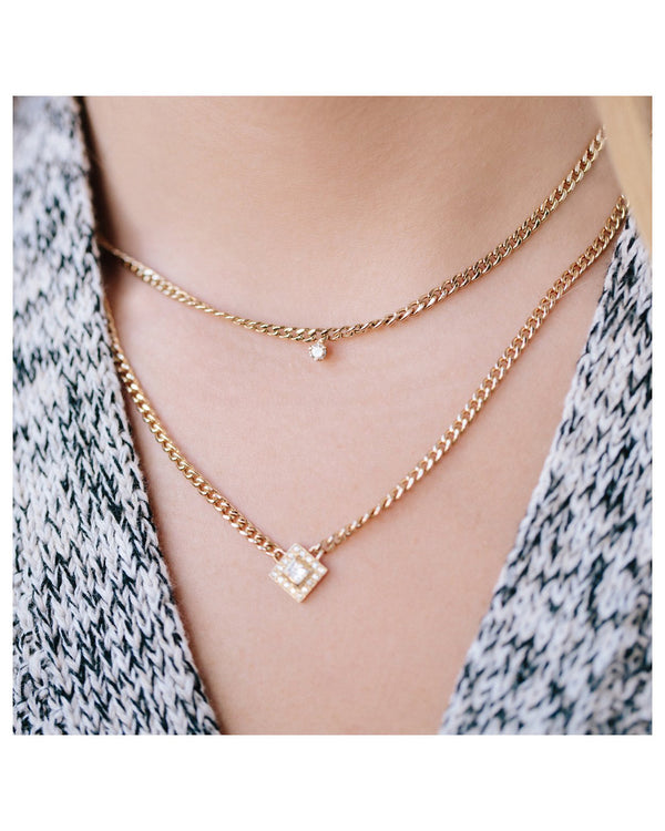 SMALL CURB GOLD CHAIN NECKLACE WITH SINGLE PRONG DIAMOND