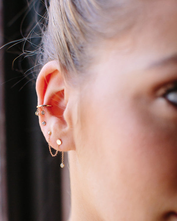 GOLD DISC DOUBLE STUD EARRING WITH DIAMOND DROP