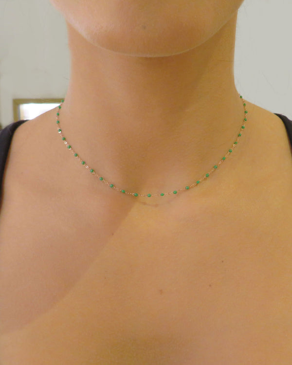 GREEN MINI PEARL CHOKER