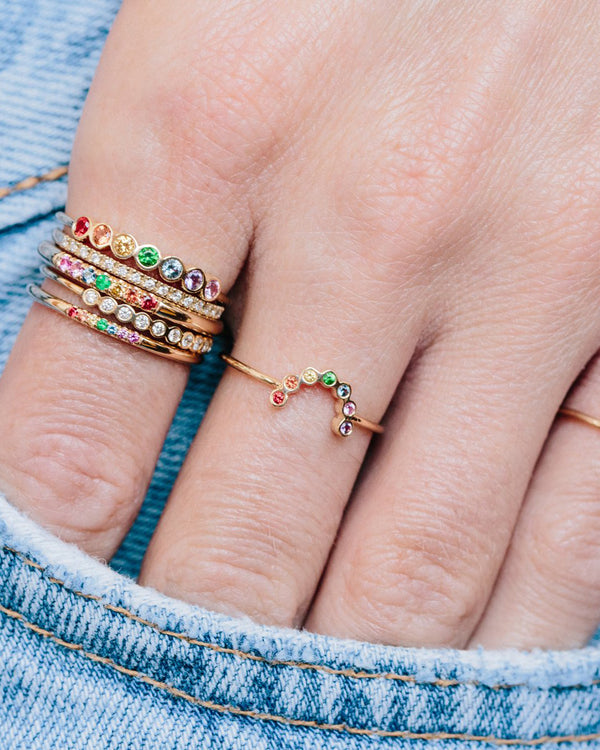 SMALL RAINBOW SAPPHIRES ARC RING
