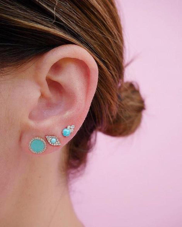 TURQUOISE DIAMOND DISC EARRING
