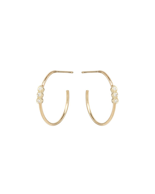 SMALL GOLD HOOPS WITH 3 DIAMONDS