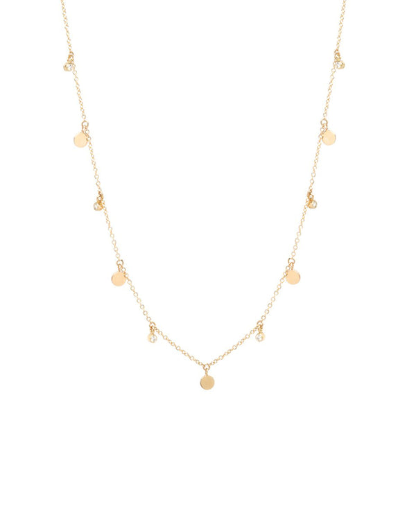 DANGLING DISC & DIAMOND NECKLACE