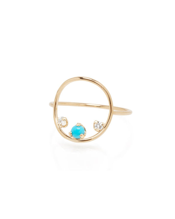 TURQUOISE AND DIAMOND MEDIUM GOLD CIRCLE RING
