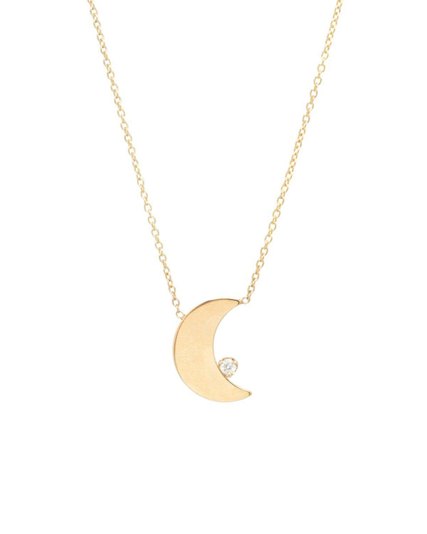 CRESCENT MOON WITH ONE DIAMOND GOLD NECKLACE