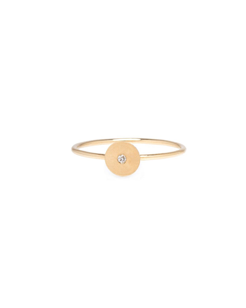 SINGLE DIAMOND MEDIUM ROUND DISC GOLD RING - FAIRYDUST_JEWELRY