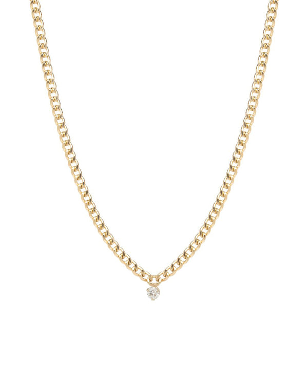 SMALL CURB GOLD CHAIN NECKLACE WITH SINGLE PRONG DIAMOND - FAIRYDUST_JEWELRY