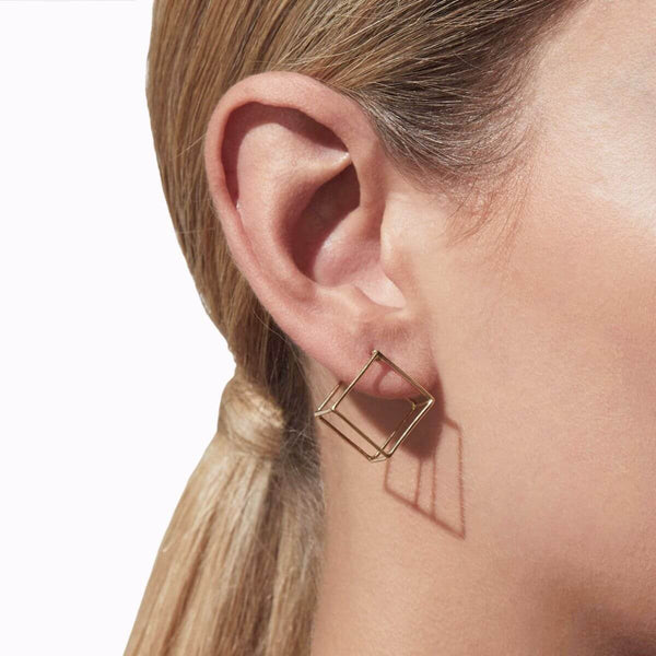 MEDIUM SQUARE 3D EARRING