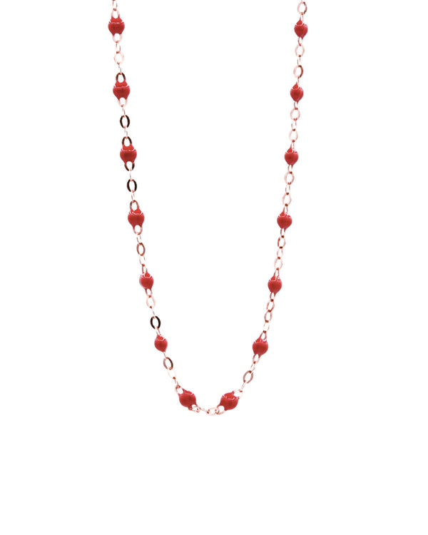 LONG POPPY RED MINI PEARL NECKLACE